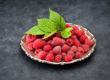 Fresh raspberries. In a silver plate Royalty Free Stock Photo
