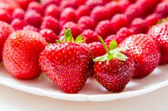 Fresh raspberries and strawberries on a white plate. Isolated on a white background Stock Image