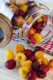 Fresh raspberries on the table. Collected fresh raspberries on the table and in a glass jar Royalty Free Stock Image