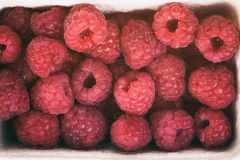 Fresh raspberries top view background. Vintage toned Stock Photos
