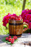 Fresh raspberries. In a traditional cup in Romania Royalty Free Stock Photo