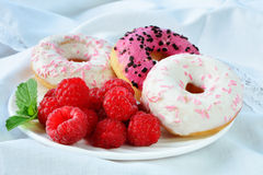 Fresh raspberries vanilla and raspberry flavored  mini donuts with topping Royalty Free Stock Images