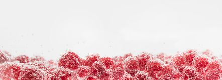 Fresh raspberries in water wiht air bubbles. Close-up photo Royalty Free Stock Photo
