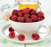 Fresh raspberries. In white cup close up Royalty Free Stock Image