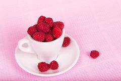 Fresh raspberries in a white cup. On a pink background Stock Photography