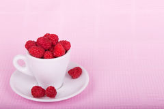 Fresh raspberries in a white cup. On a pink background Royalty Free Stock Photos
