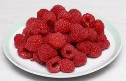 Fresh raspberries. In white dish Royalty Free Stock Image