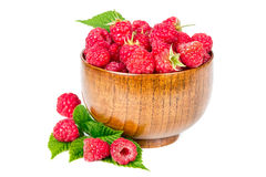 Fresh raspberries in wooden bowl. Isolated on white background Royalty Free Stock Images