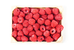 Fresh raspberries in a wooden box. On white background Royalty Free Stock Image