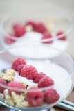 Fresh raspberries and yoghurt breakfast. Breakfast of fresh raspberries and yoghurt Stock Photography