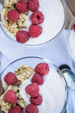 Fresh raspberries and yoghurt breakfast. Breakfast of fresh raspberries and yoghurt Royalty Free Stock Photo