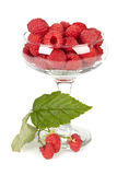 Fresh raspberry. In a vase over white background Stock Photography