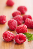 Fresh raspberry. Over wooden background Royalty Free Stock Photo