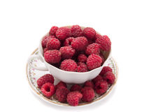 Fresh raspberry. In vintage cup isolated over white background Stock Image
