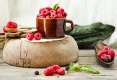 Fresh raspberry with basil in a cup of coffee and a wooden stand. Detox diet food and raw vegan concept.Horizontal Stock Photos