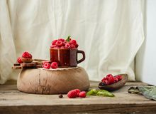 Fresh raspberry with basil in a cup of coffee and a wooden stand. Detox diet food and raw vegan concept..Place for text Royalty Free Stock Photo