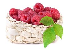 Fresh raspberry in basket isolated on white. Background Stock Photography