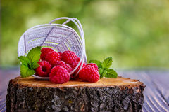 Fresh raspberry in a basket. In the summer Stock Photos