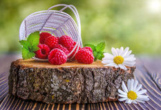 Fresh raspberry in a basket. In summer Royalty Free Stock Photo