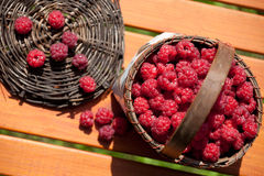 Fresh raspberry in a basket on wooden table. Sunlight Royalty Free Stock Photos