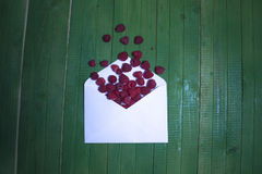 Fresh raspberry berries in an envelope on a green wooden background. Fresh raspberry berries in an envelope on a green wooden background Stock Images