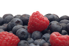 Fresh raspberry and bilberry. On white background Royalty Free Stock Photo