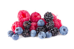 Fresh raspberry blackberry and blueberry fruits. On white background Stock Photography