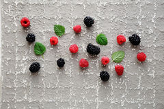 Fresh raspberry and blackberry. Summer background Stock Photos