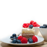 Fresh raspberry and blueberry cake. Fresh homemade raspberry and blueberry cream cake Stock Images
