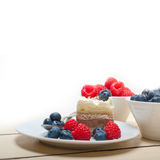 Fresh raspberry and blueberry cake. Fresh homemade raspberry and blueberry cream cake Stock Image