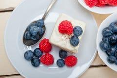 Fresh raspberry and blueberry cake Stock Image