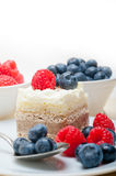 Fresh raspberry and blueberry cake. Fresh homemade raspberry and blueberry cream cake Royalty Free Stock Photo