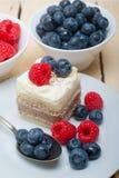 Fresh raspberry and blueberry cake. Fresh homemade raspberry and blueberry cream cake Stock Photography
