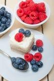Fresh raspberry and blueberry cake Stock Photo