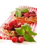 Fresh raspberry. In the bowl macro isolated on white Stock Photography