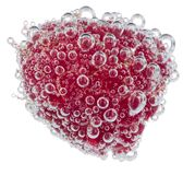 Fresh raspberry with bubbles. Fresh raspberry in water with bubbles Royalty Free Stock Photo
