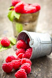 Fresh raspberry in the bucket. On the wooden table Stock Images
