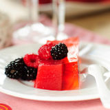 Fresh Raspberry and Champagne Jelly. Raspberry and Champagne Jelly Garnished with Fresh Berries, shallow dof, square, copy space for your text Stock Image
