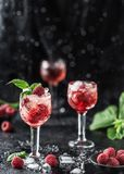 Fresh raspberry cocktail. Fresh summer cocktail with raspberry and ice cubes. Glass of raspberry mojito.  Royalty Free Stock Photography