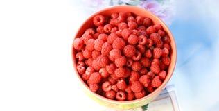 Fresh raspberry on colorful background. Fresh raspberry on colorful white blue background Royalty Free Stock Photo