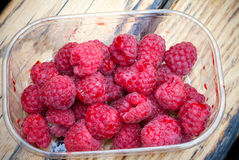 Fresh raspberry container Stock Photos