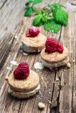Fresh raspberry cookies Stock Photos