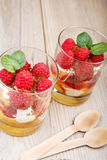 Fresh raspberry dessert with biscuit Stock Photo