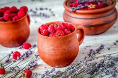 Fresh raspberry and dry lavander in rustic design on wooden back. Fresh raspberry in pots and lavander dry flowers in rustic design on wooden background Stock Photo