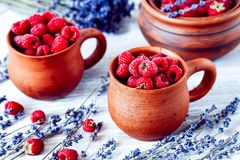 Fresh raspberry and dry lavander in rustic design on wooden back Royalty Free Stock Photos