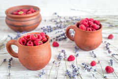 Fresh raspberry and dry lavander in rustic design on wooden background. Fresh raspberry in pots and lavander dry flowers in rustic design on wooden background Royalty Free Stock Photo