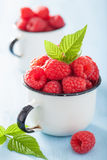 Fresh raspberry in enamel cup over blue background.  Royalty Free Stock Photo