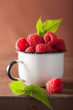 Fresh raspberry in enamel cup over wooden background Stock Images