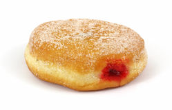 Fresh raspberry filled donut Royalty Free Stock Photo
