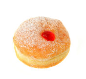 Fresh raspberry filled donut. On white Stock Photo
